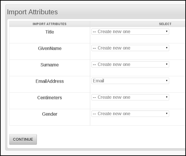 import attributes in phpList